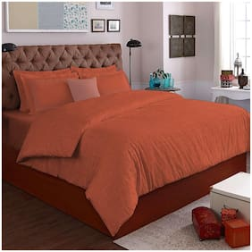Spaces Texpressions Orange 1 Double Bedsheet With 4 Pillow Covers
