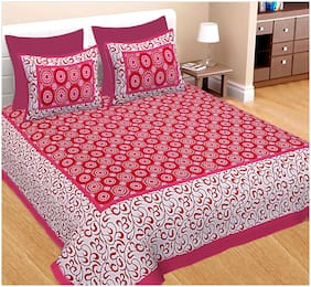 Spangle Cotton Geometric Double Size Bedsheet 104 TC ( 1 Bedsheet With 2 Pillow Covers , Pink )