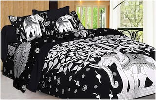 Spangle Cotton Printed Double Size Bedsheet 144 TC ( 1 Bedsheet With 2 Pillow Covers , Black )