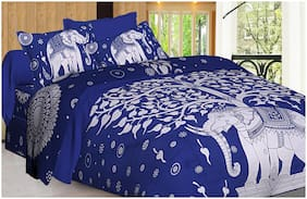 Spangle Cotton Printed Double Size Bedsheet 144 TC ( 1 Bedsheet With 2 Pillow Covers , Blue )