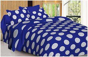Spangle Polyester Polka Dot Double Size Bedsheet 144 TC ( 1 Bedsheet With 2 Pillow Covers , Blue )