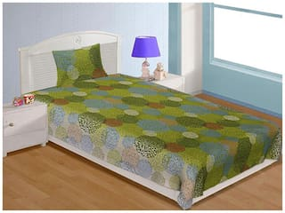Spangle Cotton Floral Single Size Bedsheet 144 TC ( 1 Bedsheet With 1 Pillow Covers , Green )