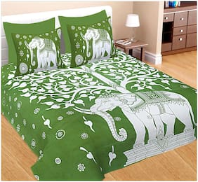 Spangle Cotton Printed Double Size Bedsheet 144 TC ( 1 Bedsheet With 2 Pillow Covers , Green )