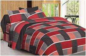 Spangle Cotton Checkered King Size Bedsheet 280 TC ( 1 Bedsheet With 2 Pillow Covers , Red )