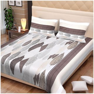 Spangle Satin Floral King Size Bedsheet 280 TC ( 1 Bedsheet With 2 Pillow Covers , Beige )