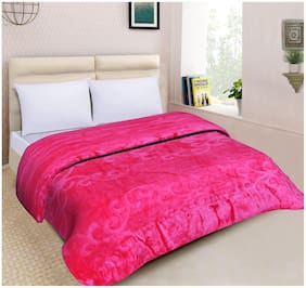 Spangle Floral Embossed Mink Double Blanket Pink