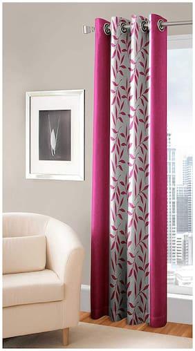 Spangle Homes Polyester Door Semi Transparent Pink Regular Curtain ( Eyelet Closure , Floral )