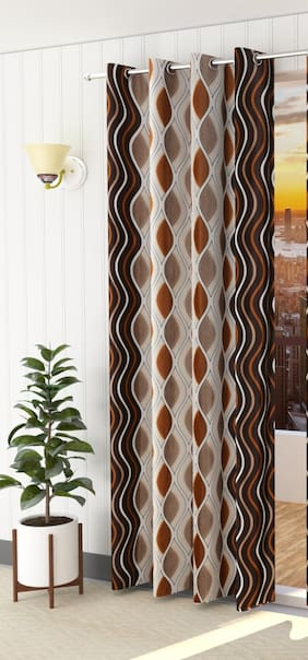 Spangle Homes Polyester Window Semi Transparent Brown Regular Curtain ( Eyelet Closure , Geometric )
