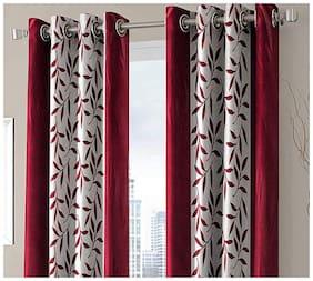 Spangle Homes Polyester Door Semi Transparent Maroon Regular Curtain ( Eyelet Closure , Floral )