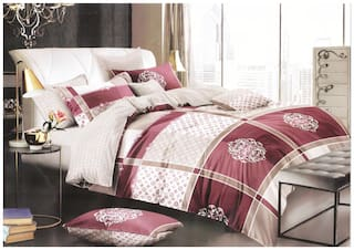 Spangle Homes Cotton Checkered King Size Bedsheet 250 TC ( 1 Bedsheet With 2 Pillow Covers , Multi )