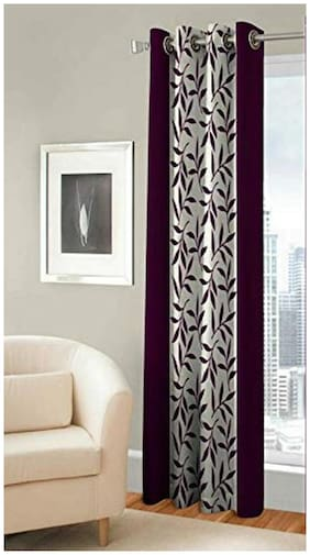 Spangle Homes Polyester Window Semi Transparent Wine Regular Curtain ( Eyelet Closure , Floral )
