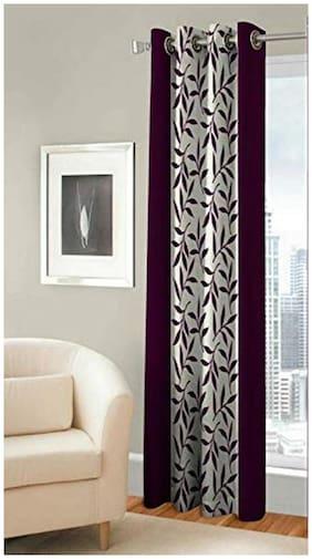 Spangle Homes Polyester Window Semi Transparent Wine Regular Curtain ( Eyelet Closure , Floral )