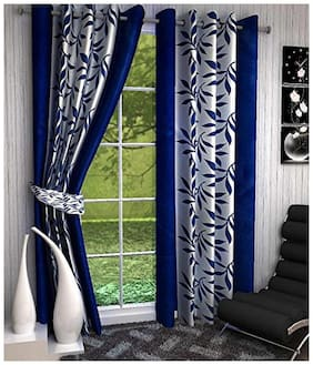 Spangle Homes Regular Use Polyester Window Floral Curtains Navy Blue-Pack of 2