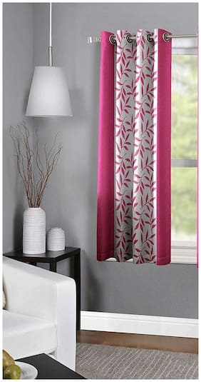Spangle Homes Polyester Window Semi Transparent Pink Regular Curtain ( Eyelet Closure , Floral )