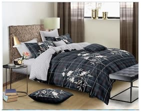Spangle Homes Cotton Floral King Size Bedsheet 250 TC ( 1 Bedsheet With 2 Pillow Covers , Multi )