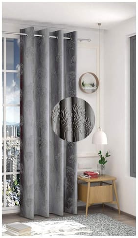 Spangle Homes Polyester Window Blackout Grey Regular Curtain ( Eyelet Closure , Printed )