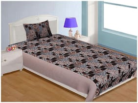 Spangle Microfibre 3D Printed Single Size Bedsheet 104 TC ( 1 Bedsheet With 1 Pillow Covers , Brown )
