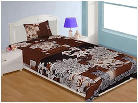 Spangle Microfiber Floral Single Size Bedsheet 104 TC ( 1 Bedsheet With 1 Pillow Covers , Brown )