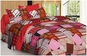 Spangle Microfiber Printed Double Size Bedsheet 104 TC ( 1 Bedsheet With 2 Pillow Covers , Multi )