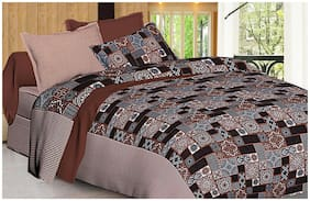 Spangle Microfiber 3D Printed Double Size Bedsheet 104 TC ( 1 Bedsheet With 2 Pillow Covers , Brown )