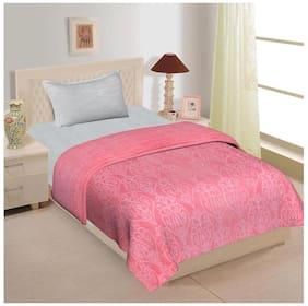 Spangle Plain Embossed Floral Mink Single Blanket Pink