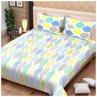 Spangle Cotton Printed King Size Bedsheet 144 TC ( 1 Bedsheet With 2 Pillow Covers , White )