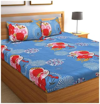 Spangle Microfiber Printed King Size Bedsheet 104 TC ( 1 Bedsheet With 2 Pillow Covers , Blue )