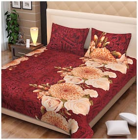 Spangle Microfiber Printed King Size Bedsheet 104 TC ( 1 Bedsheet With 2 Pillow Covers , Maroon )