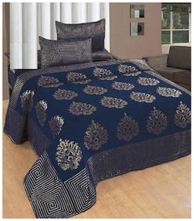 Spangle Homes Chenille Abstract Double Size Bedsheet 500 TC ( 1 Bedsheet With 2 Pillow Covers , Blue )