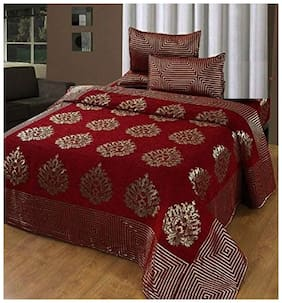 Spangle Homes Chenille Abstract Double Size Bedsheet 500 TC ( 1 Bedsheet With 2 Pillow Covers , Maroon )