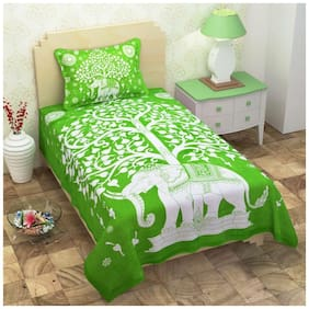 Kohinoor Cotton Printed Single Size Bedsheet 120 TC ( 1 Bedsheet With 1 Pillow Covers , Green )