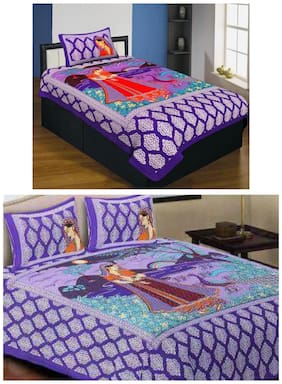 Kohinoor Cotton Printed Single Size Bedsheet 120 TC ( 2 Bedsheet With 3 Pillow Covers , Purple )