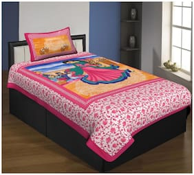 Kohinoor Microfiber Printed Single Size Bedsheet 110 TC ( 1 Bedsheet With 1 Pillow Covers , Pink )