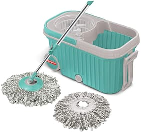 Spotzero by Milton E-Elite Spin Mop with Bigger Wheels and Plastic Auto Fold Handle for 360 Degree Cleaning (Aqua Green;Two Refills)