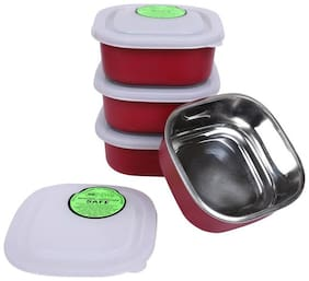 Square Stainless Steel Microwave Safe 4 Container - 1200 ml Steel Spice Container