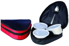 SRK Internationals 3 Containers Stainless steel Lunch Box - Assorted