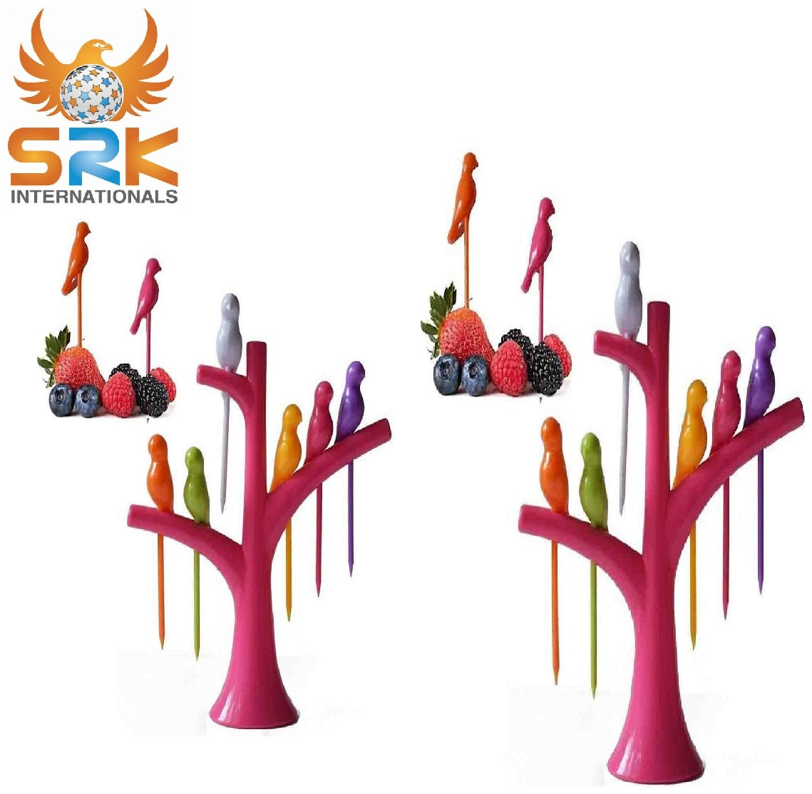 SM Birdie Plastic Fruit Fork Set with Stand, 6 pcs, Multicolour Set of  2 by Super Saver Sale