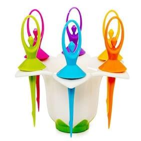SRK Dancing Dolls Fruit For 6 With Fork Stand