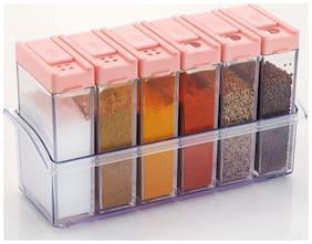 SRK Environment Friendly Exquisite 6-Jar Spice Rack Jar Or Set - Assorted Colors