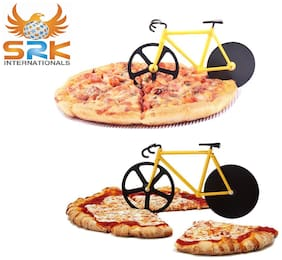 SRK Innovative Cycle Pizza Cutter Stainless Steel Blades With Stand Made In India Assorted Colors Set Of-2