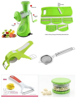 SRK Kitchen Combo Elegant Green Fruit Juicer + 6 In 1 Fruit & Vegetables Slicer + Multi Vegetables Cutter Cum Peeler + Mesh Tea strainer + Mango Peeler + Garlic Dicer