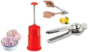 SRK Kitchen Tools Combo Push And Chop  Onion + 2 In 1 Lemon Squeezer