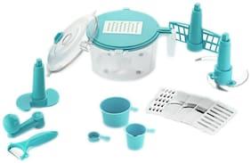 SRK Konvex 14-Piece Dough Maker, Vegetable Cutter, Slicer, Dicer, Atta Kneader (Blue)