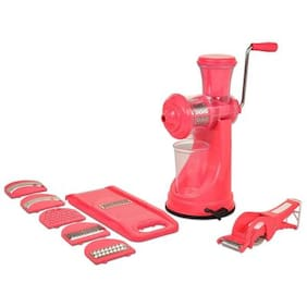 SRK Pink Elegant Fruit Vegetable Hand Juicer, Slicer & Peeler Super Kitchen Combo Set