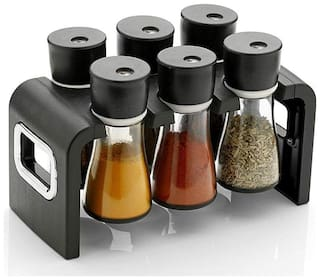 SRK Products 6 Pc Multipurpose Spice Rack Spice Containers for Storage Plastic Stackable and Space Savvy Dining Table Spice Rack for Kitchen