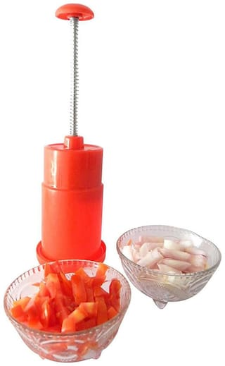 SM Push And Chop Onion Chopper Or Cutter - Red