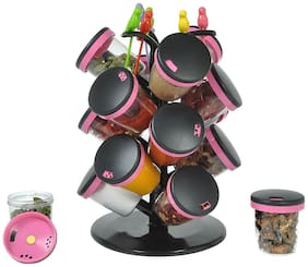 SRK Radhe 15-Jar Revolving Spice Rack Masala Box With 6 Birdie Forks - Assorted Colors