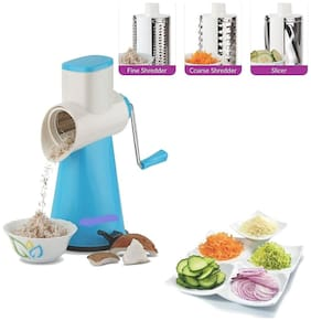 SRK Rotary Vegetable Cutter Grater Slicer Dicer, 3-Piece, Blue