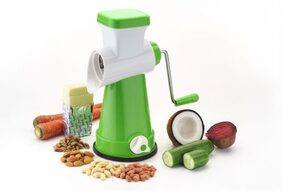 SRK Ultra Green 4 in 1 Rotary Grater & Slicer with high speed rotary CYLINDER & 4 Interchangeable Ultra Sharp SS Blades use for cutting, slicing & grating