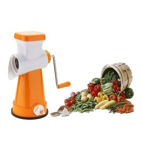SRK Ultra Orange 4 in 1 Rotary Grater & Slicer with high speed rotary CYLINDER & 4 Interchangeable Ultra Sharp SS Blades use for cutting, slicing & grating